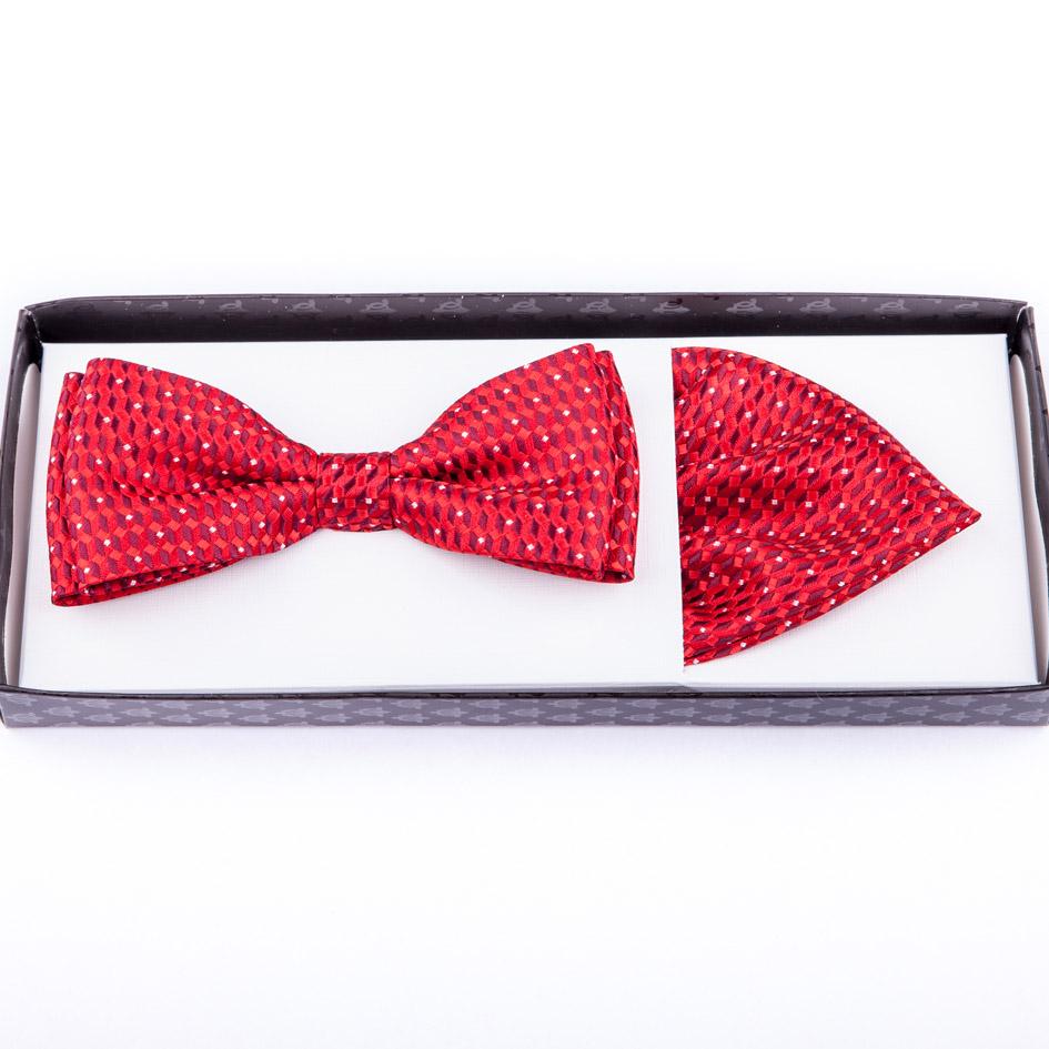 Červený pánský motýlek s kapesníčkem Assante 90221