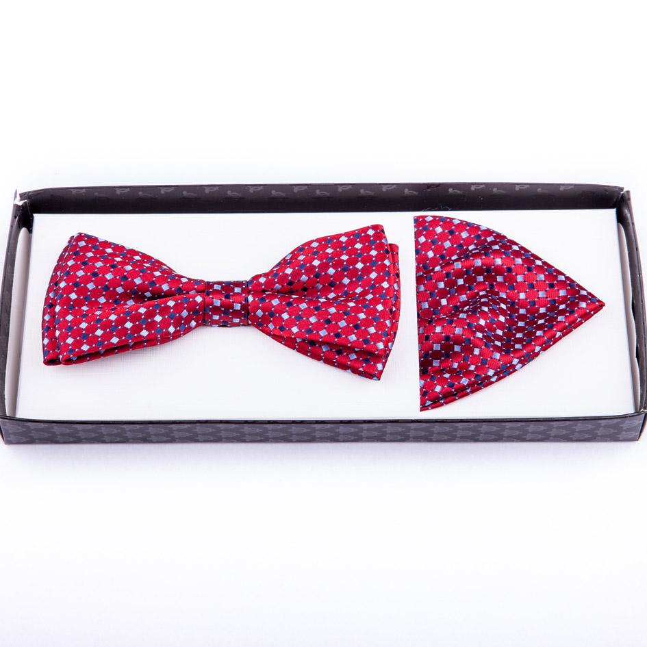 Červenomodrobílý motýlek s kapesníčkem Assante 90222