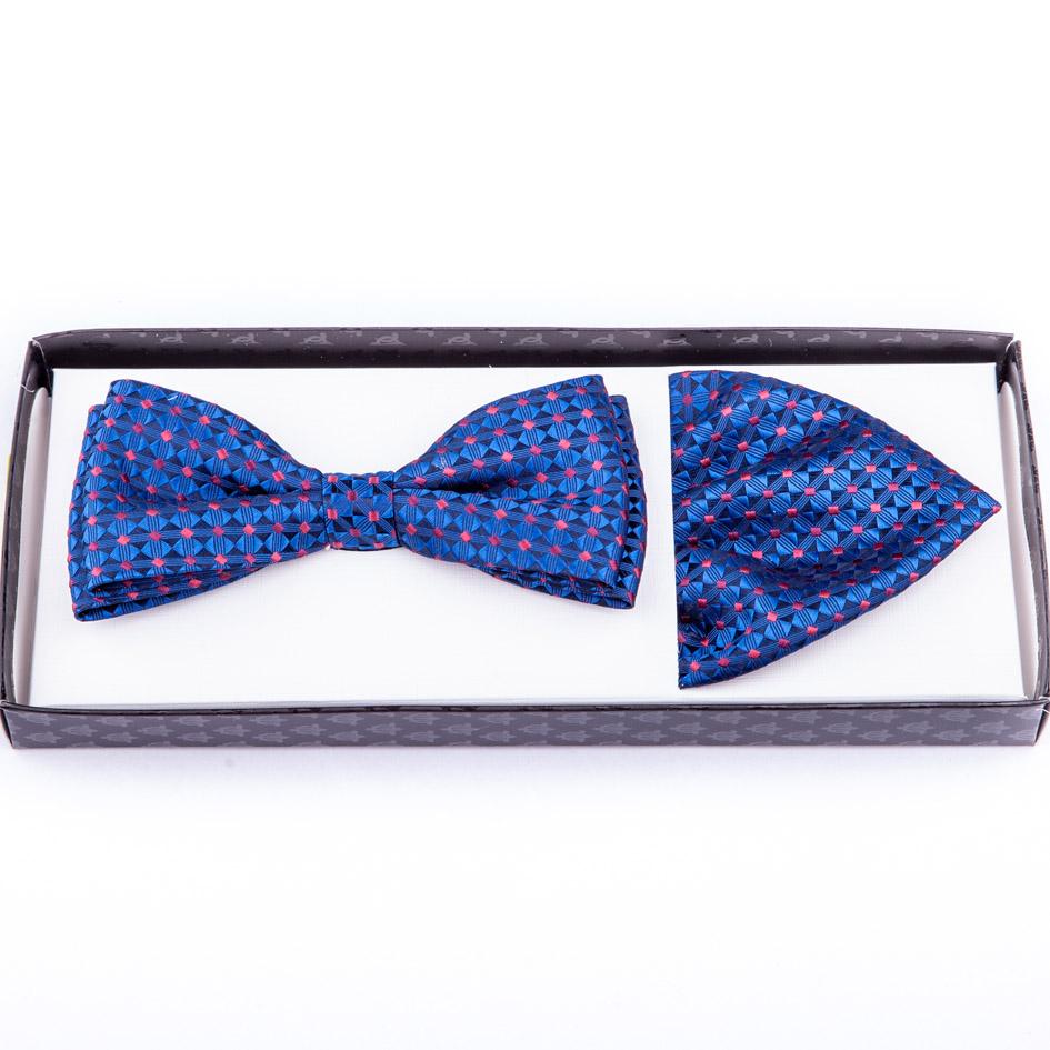 Modrý motýlek s kapesníčkem Assante 90226