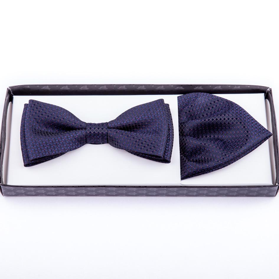 Tmavě modrý motýlek s kapesníčkem Assante 90234