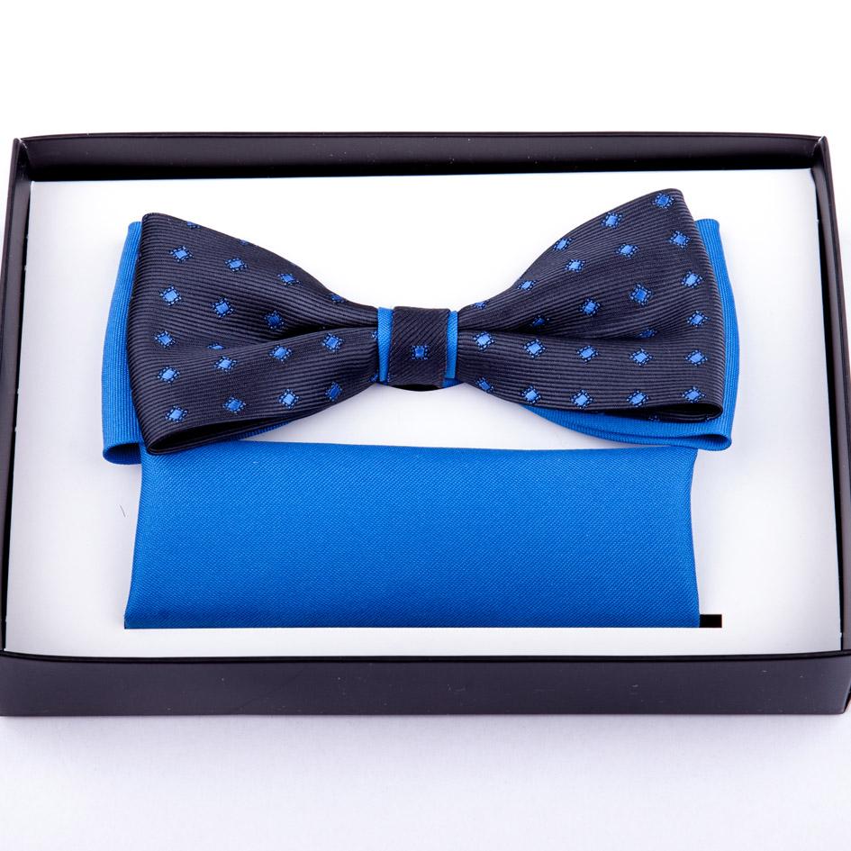 Modrý pánský motýlek s kapesníčkem Assante 90237
