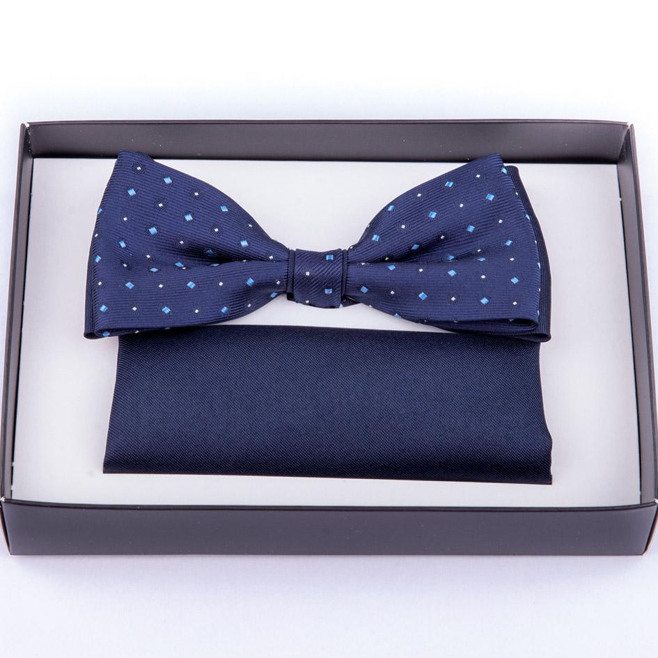 Tmavě modrý motýlek s kapesníčkem Assante 90238