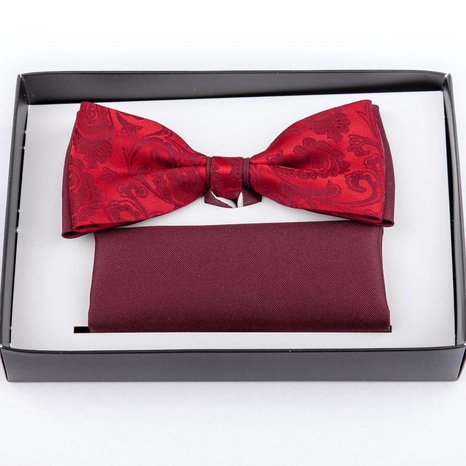 Pánský svatební motýlek červený s kapesníčkem Assante 90245
