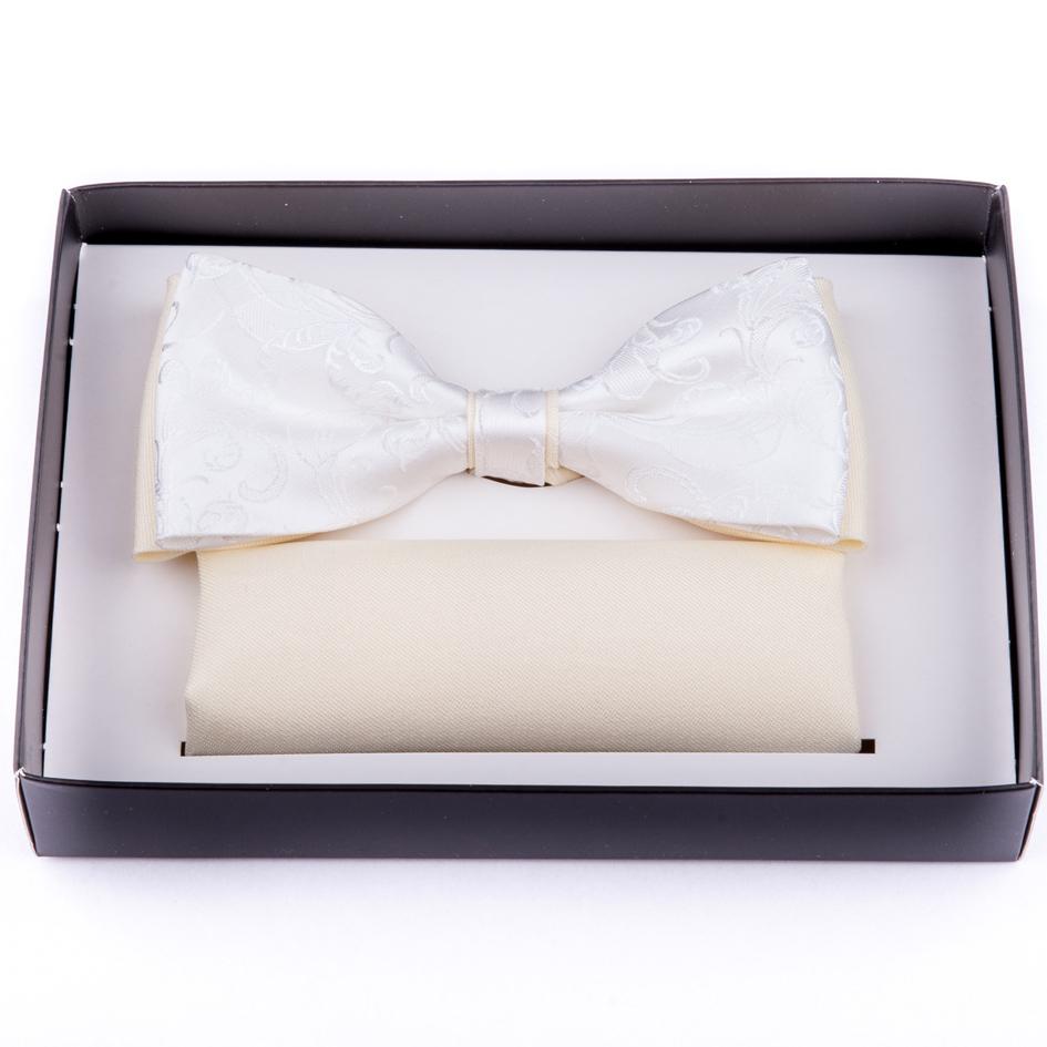 Svatební motýlek šampaň ekry s kapesníčkem Assante 90250