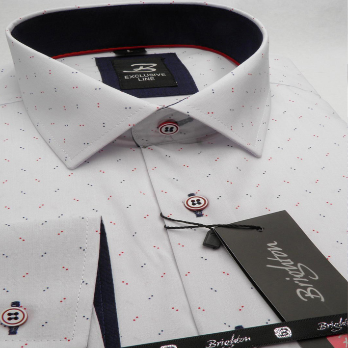 Bílá pánská košile dlouhý rukáv vypasovaný střih Brighton 109972