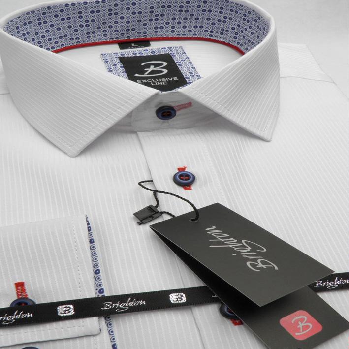 Bílá pánská košile dlouhý rukáv vypasovaný střih Brighton 109973