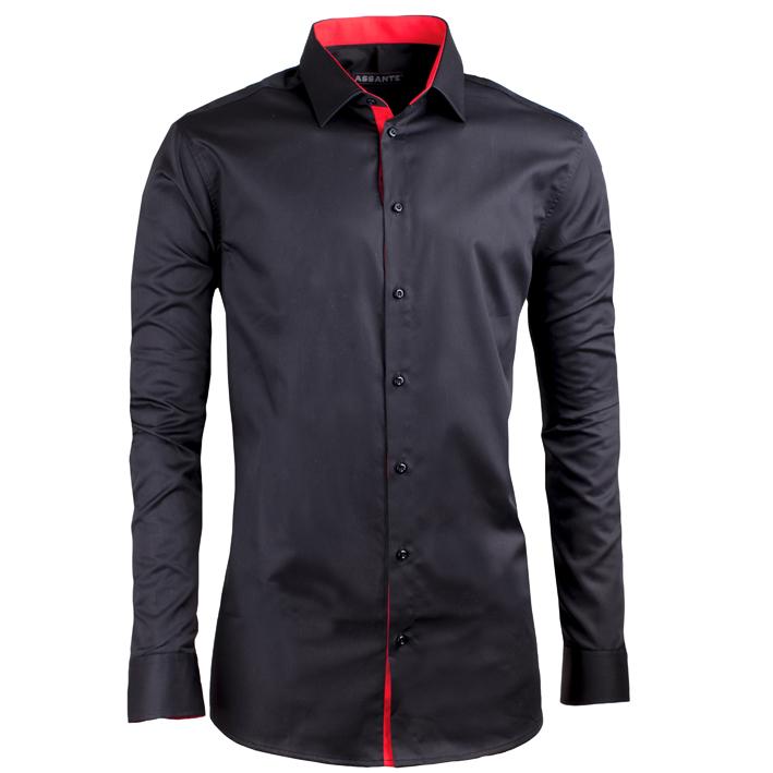 Černá košile 100 % bavlna bez žehlení slim fit Assante 30110