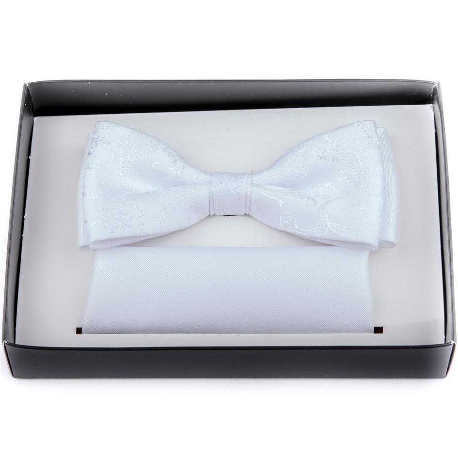 Svatební motýlek bílý s kapesníčkem Assante 90251