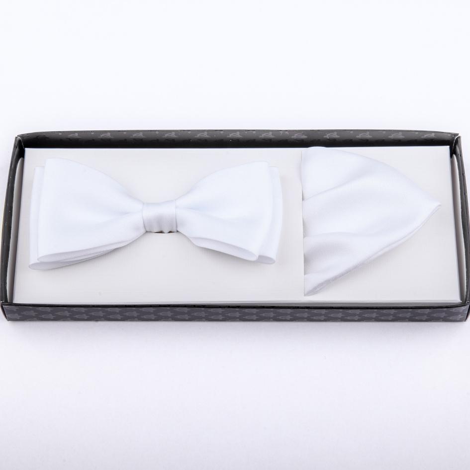 Svatební motýlek s kapesníčkem bílý Assante 90253