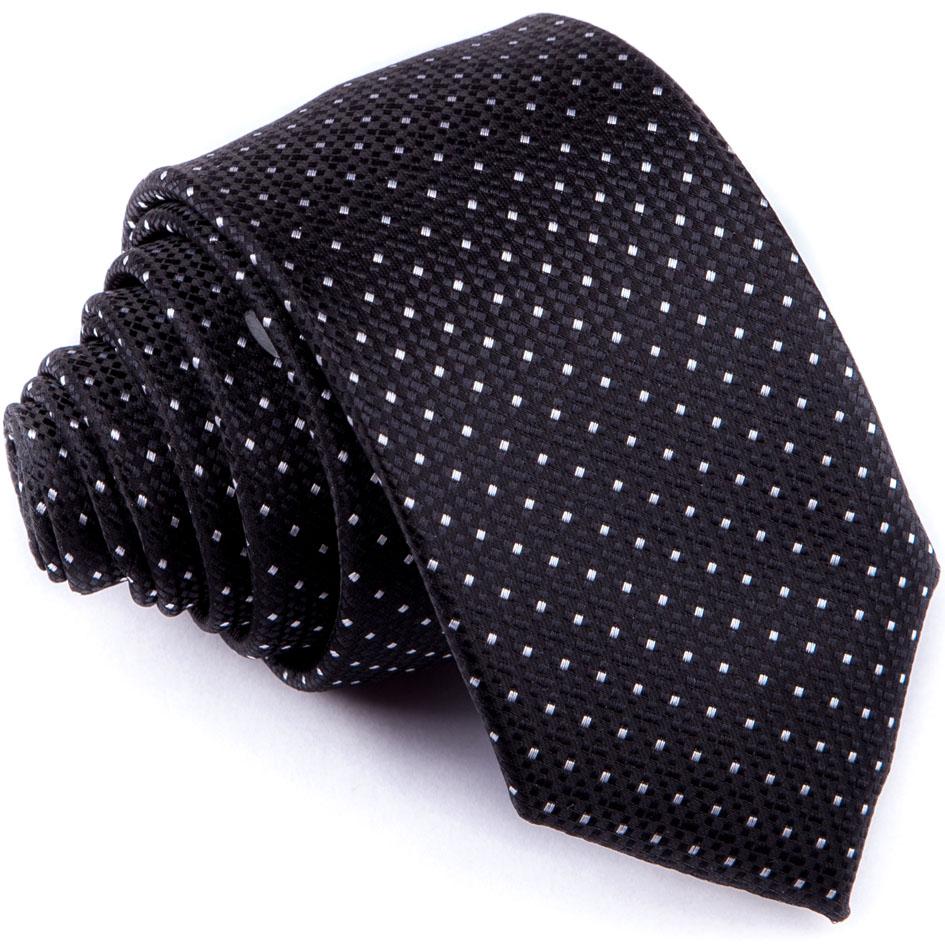 Černá puntíkovaná slim fit kravata Greg 91196