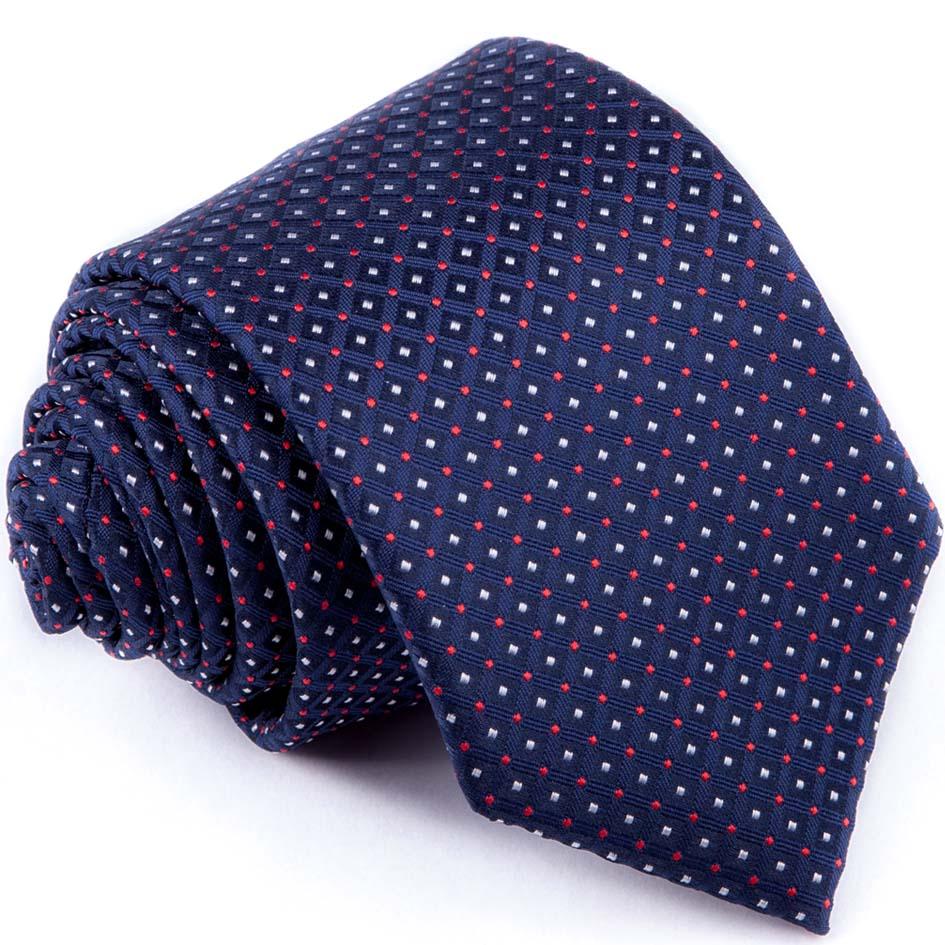 Modrá kravata červenobílý puntík Greg 94280