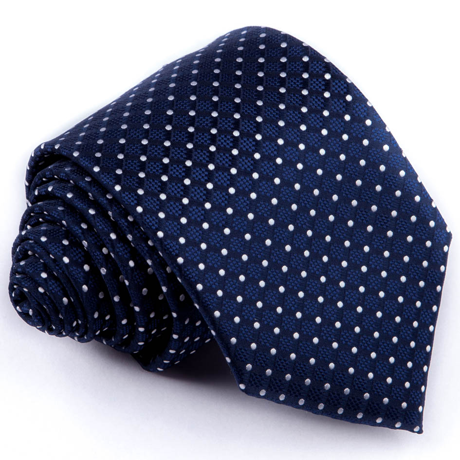 Modrá kravata bílý puntík Greg 94283