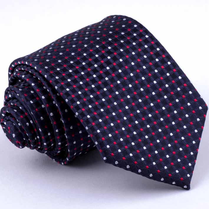 Tmavě modrá kravata s puntíky Greg 94284