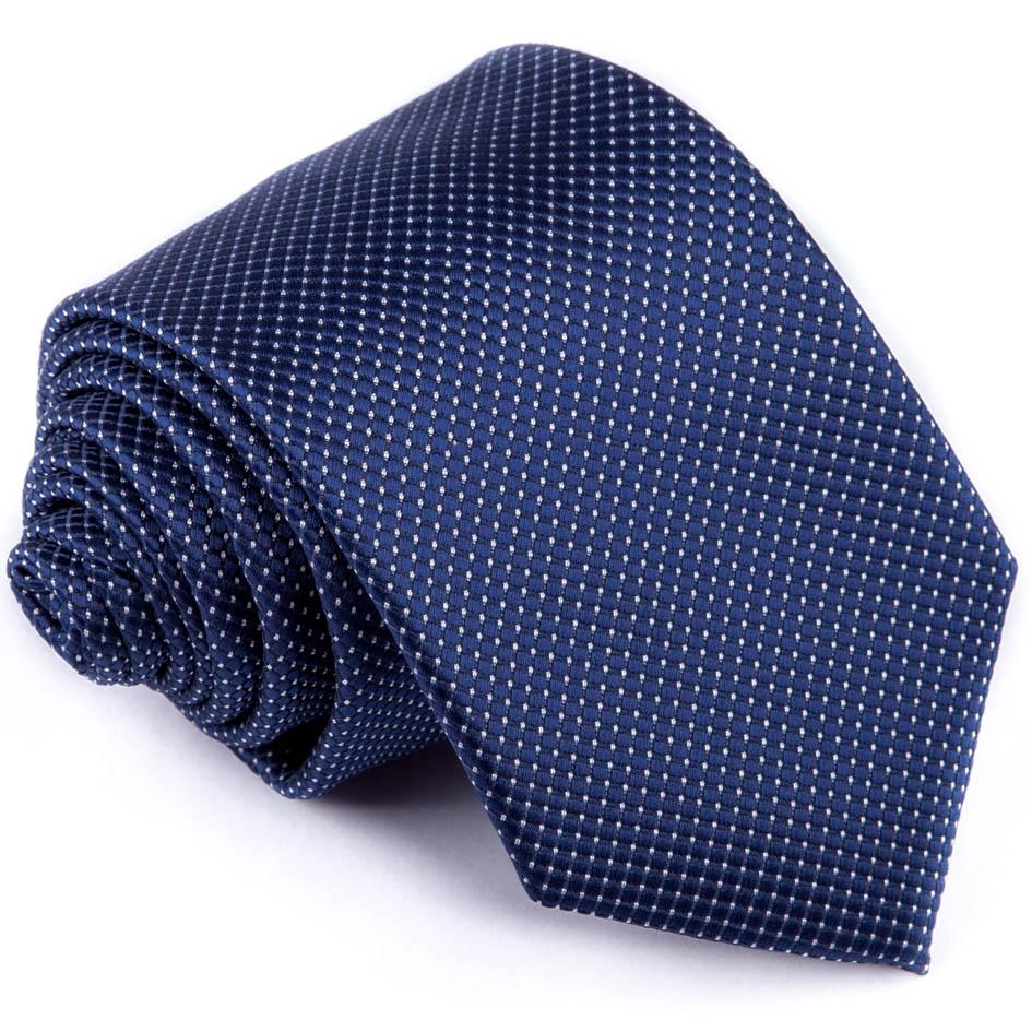 Tmavě modrá kravata s tečkami Greg 94285
