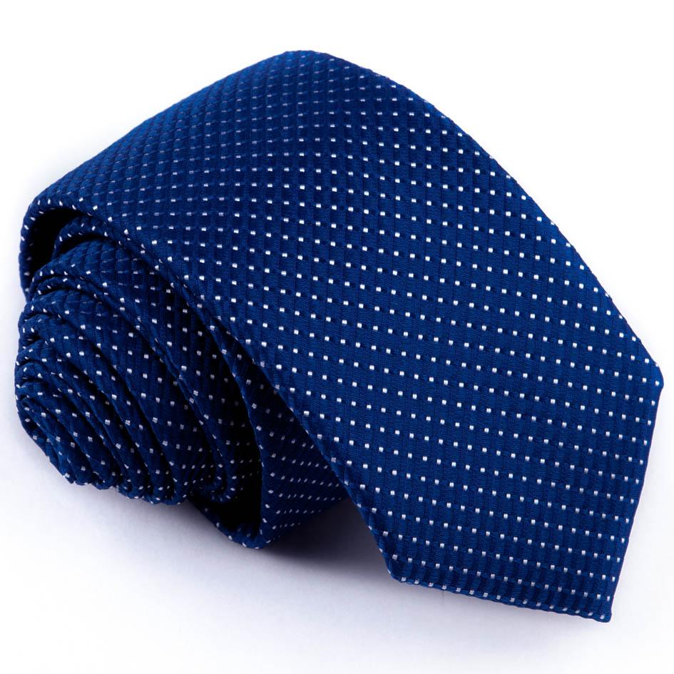 Puntíkovaná slim fit kravata modrá Greg 94291