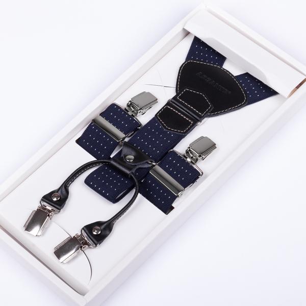 Luxusní modré kšandy kožená poutka Assante 90044