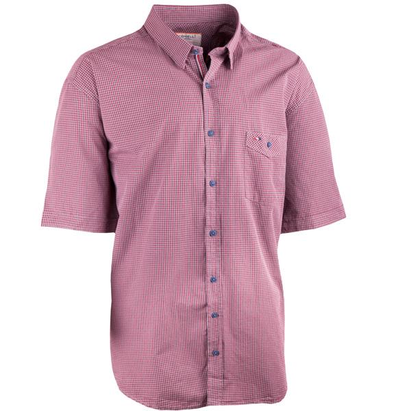 Bordó pánské košile krátký rukáv rovný střih Tonelli 110926