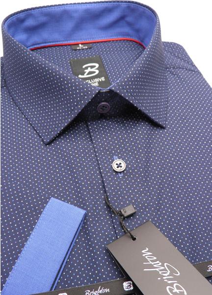 Tmavě modrá pánská košile s krátkým rukávem rovný střih Brighton 109976