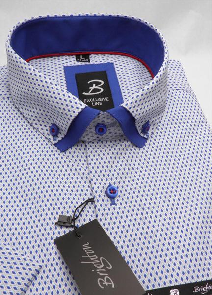 Bílomodrá pánská košile s krátkým rukávem rovný střih Brighton 109977