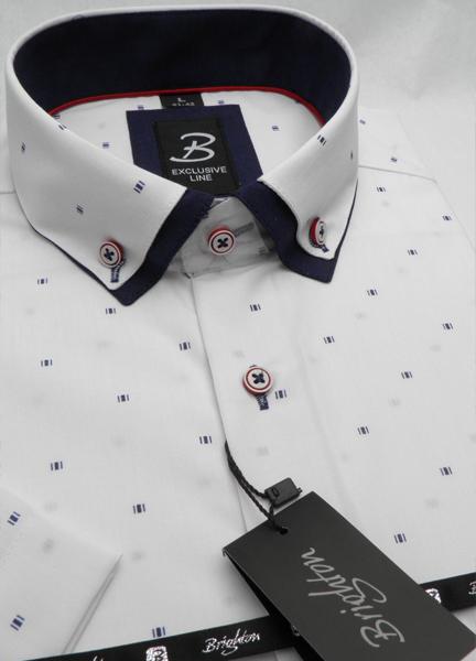 Bílá s modrou pánská košile s krátkým rukávem rovný střih Brighton 109978