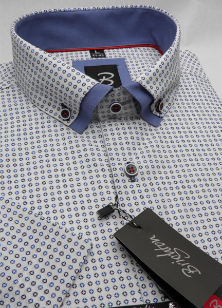 Modrá pánská košile s krátkým rukávem rovný střih Brighton 109979