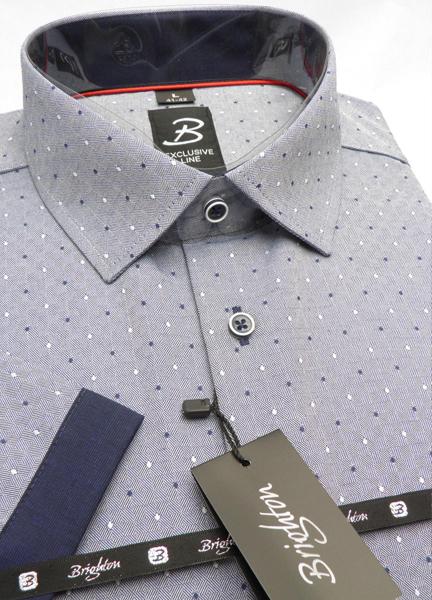 Modrá pánská košile s krátkým rukávem rovný střih Brighton 109981