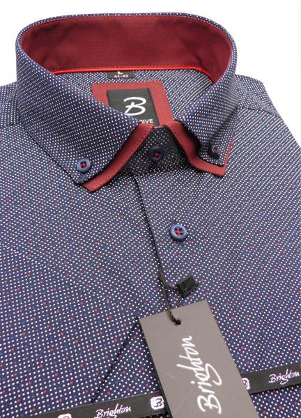 Modrá pánská košile s krátkým rukávem rovný střih Brighton 109982