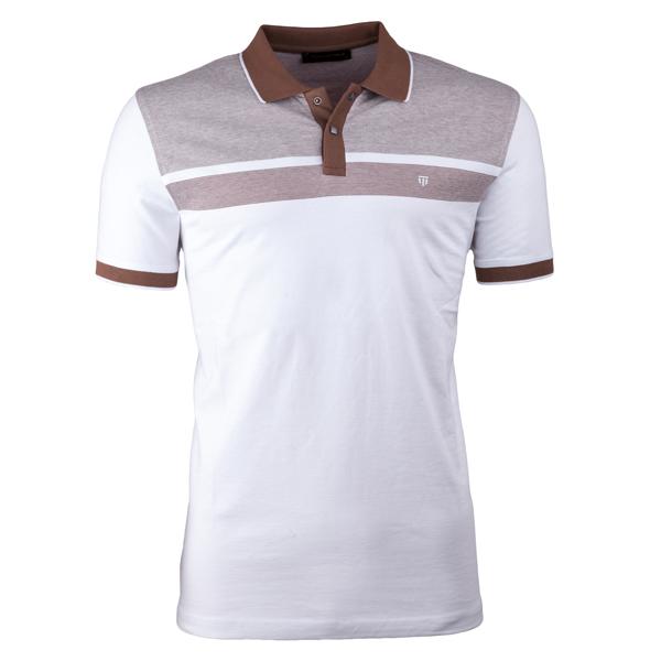 Hnědá pánská polokošile s krátkým rukávem ,triko s limečkem Tony Montana 45029