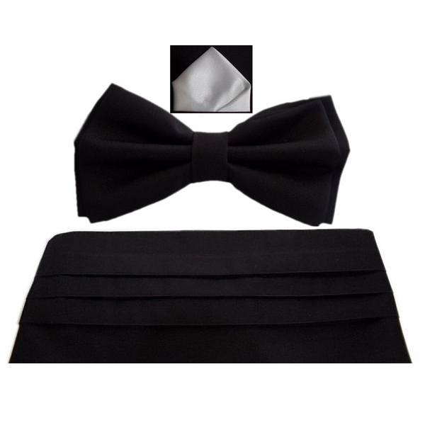 Černý smokingový pás - šerpa set Assante 90412