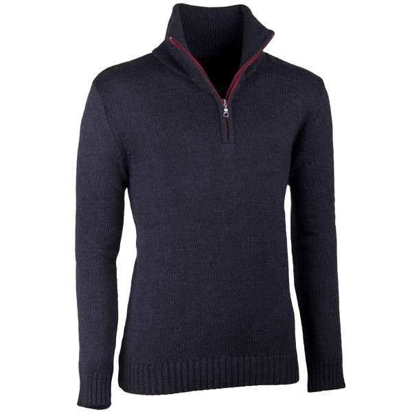 Tmavě šedý pánský svetr ke krku na zip Assante 51024