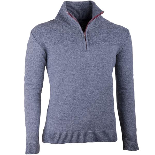 Šedý pánský svetr ke krku na zip Assante 51025