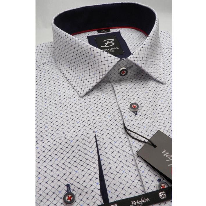 Bílomodrá pánská košile dlouhý rukáv s podšitým límcem  Brighton 109990