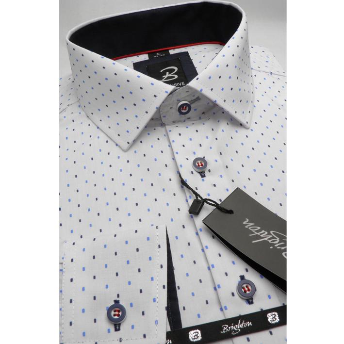 Bílomodrá pánská košile dlouhý rukáv s podšitým límcem  Brighton 109992