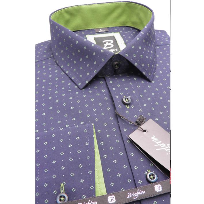 Modrozelená pánská košile dlouhý rukáv s podšitým límcem  Brighton 109993