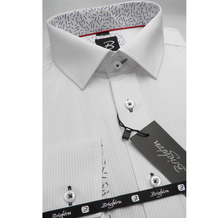 Bílá pánská košile dlouhý rukáv s podšitým límcem  Brighton 109995