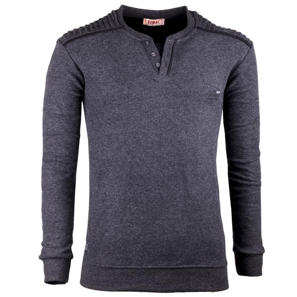 Tmavě šedý pánský svetr bavlněný Semal 167021
