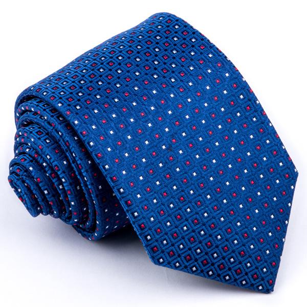 Modrá kravata červeno bílý puntík Greg 94310