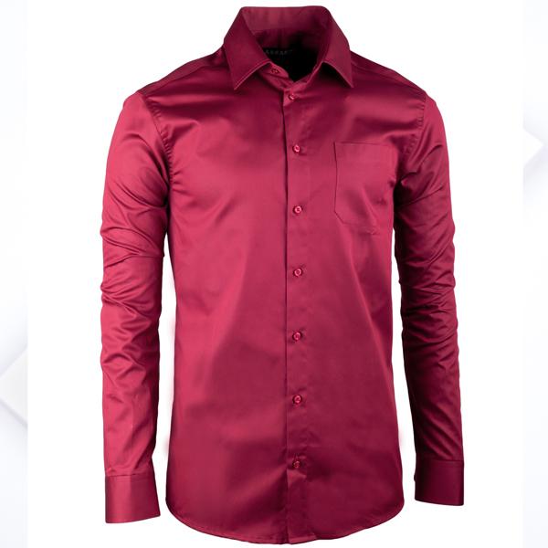 Pánská nadměrná košile v barvě vínově červené Assante 31097