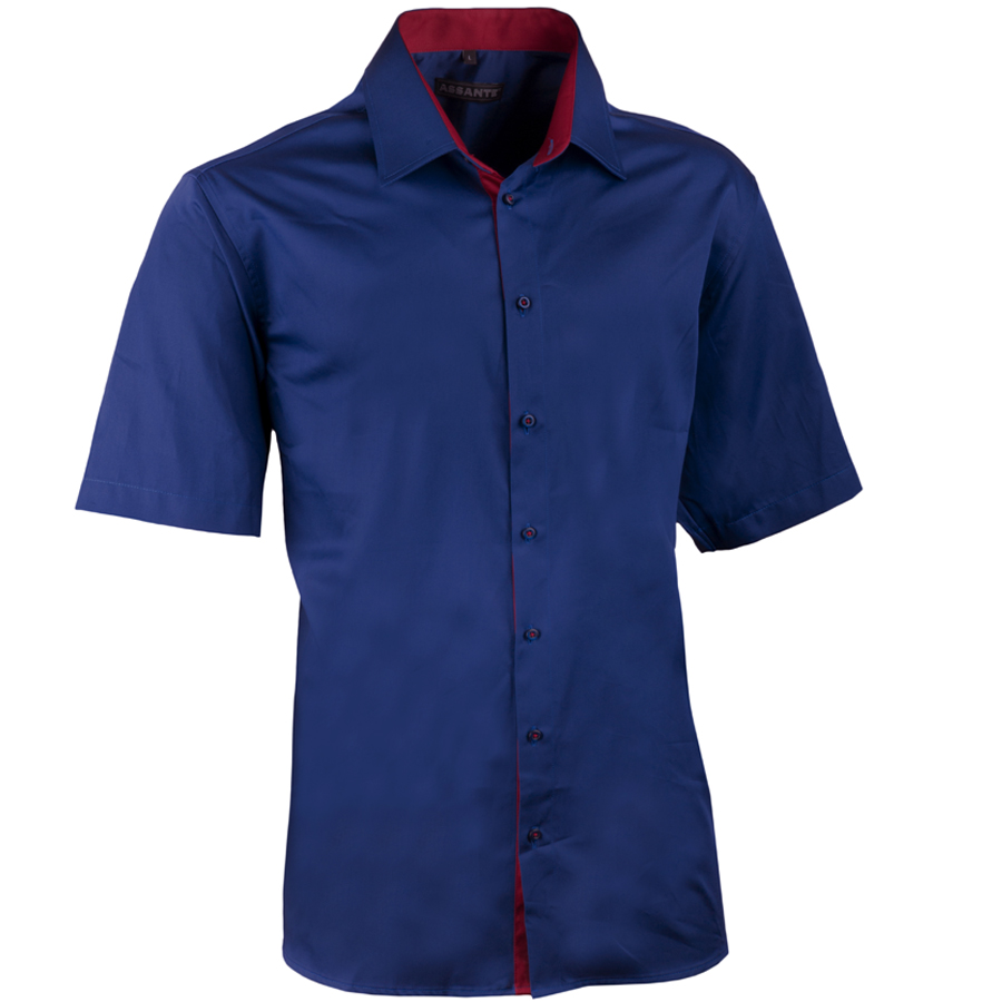 Pánská kobaltová košile slim krátký rukáv 100% bavlna non iron Assante 40441