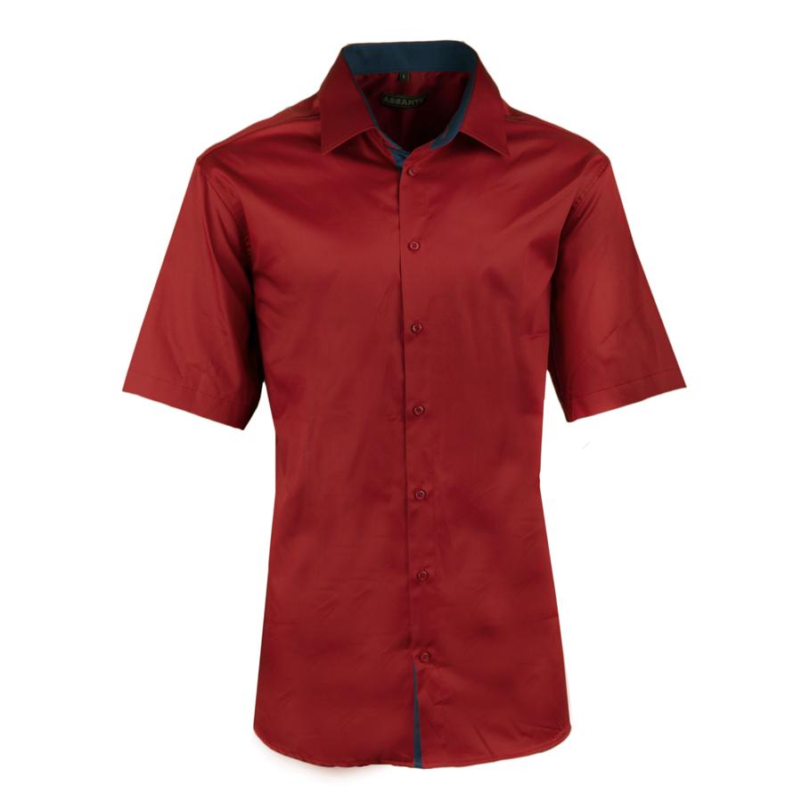 Pánská tmavě čevená košile slim krátký rukáv 100% bavlna non iron Assante 40342