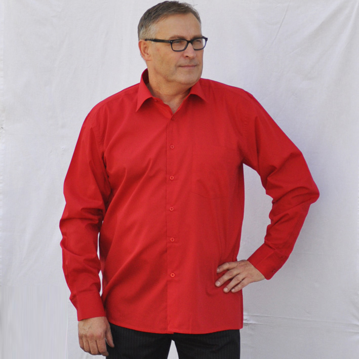 Červená pánská košile s dlouhým rukávem rovná Friends and Rebels 30303