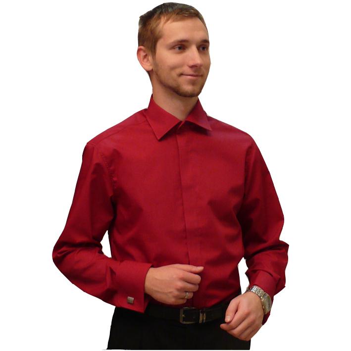 Červená pánská košile s dlouhým rukávem slim fit Assante 30308