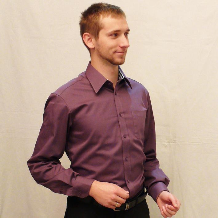 Pánská košile s dlouhým rukávem slim fit fialová Assante 30309