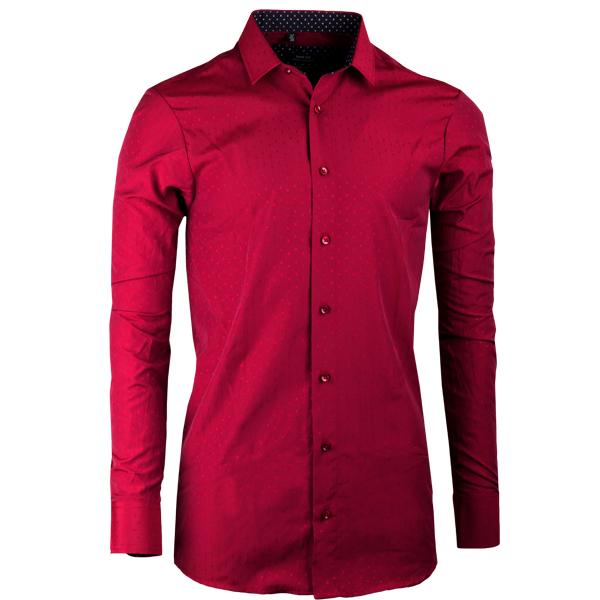 Vínová pánská košile s dlouhým rukávem slim Native 30316
