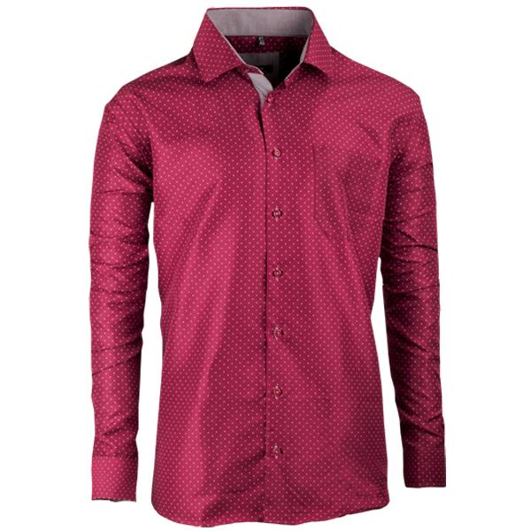 Vínová pánská košile s dlouhým rukávem rovná Native 30317