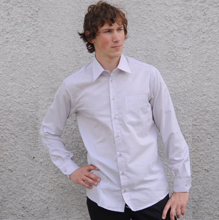 Šedá pánská košile s dlouhým rukávem slim fit Assante 30608 velikost 39/40 (M)