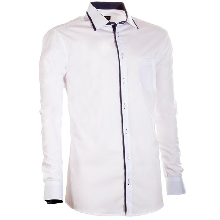 Bílá pánská košile s dlouhým rukávem slim fit Assante 30671