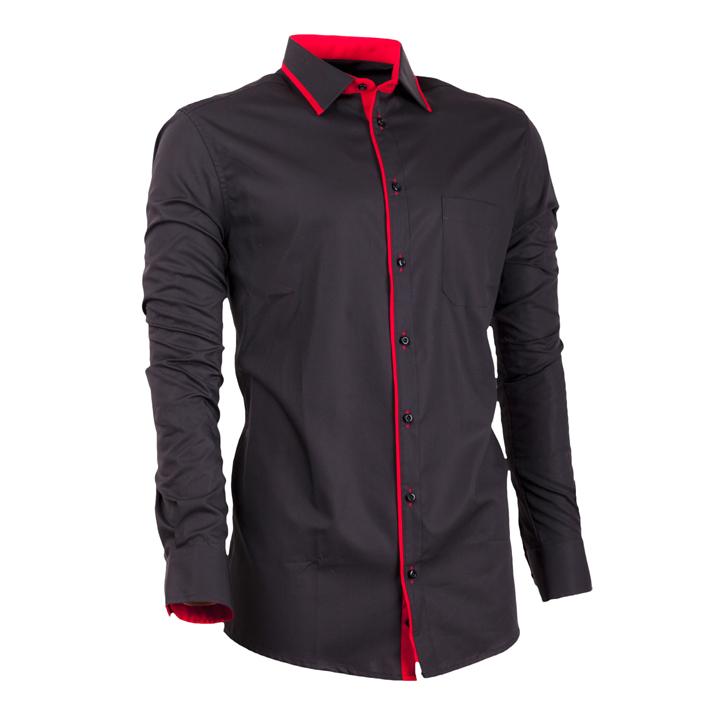 Černá košile 100 % bavlna bez žehlení slim fit Assante 30673