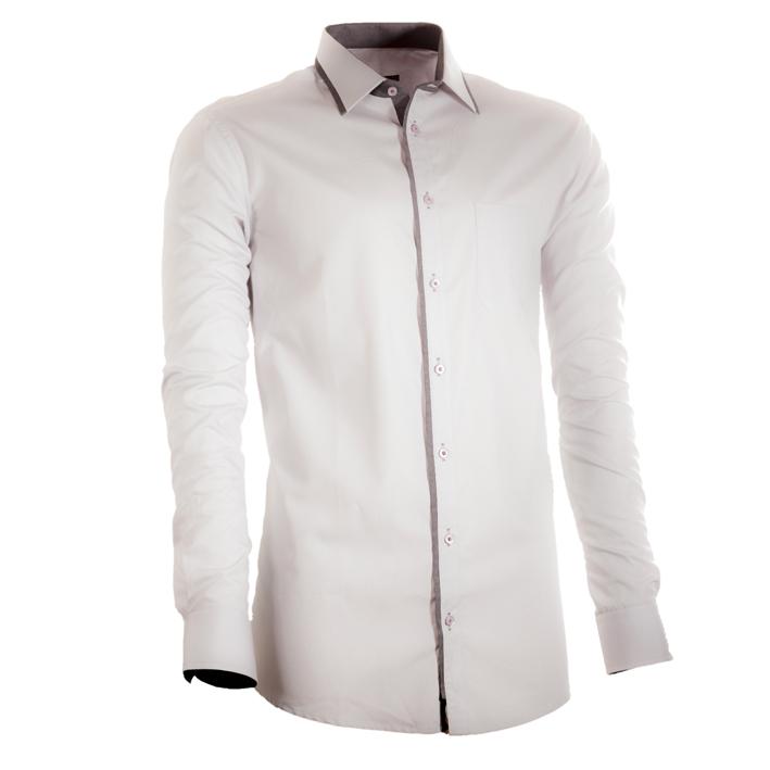 Šedá pánská košile s dlouhým rukávem slim fit Assante 30674