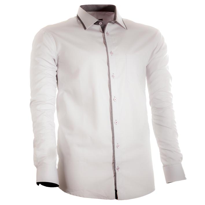 Šedá pánská košile s dlouhým rukávem rovná Assante 30703 velikost 45/46 (XXL)